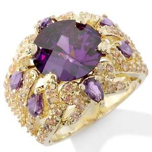 IMAN Global Chic Jewel Encrusted Faceted Amethyst CZ Ring