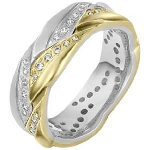14 Karat Two Tone Gold 8mm Diamond Wedding Band, 0.50 TCW