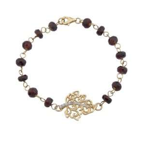 18k Yellow Gold Plated Sterling Silver Genuine Garnet with