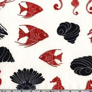 45 Wide Alexander Henry Marina Red/Navy Fabric By The