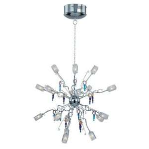 E22136 18 Clear Glass Metz Art Deco / Retro Sixteen Light Chandelier