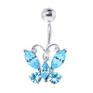 Brilliant Butterfly Solar Blue Gem Belly Ring Jewelry