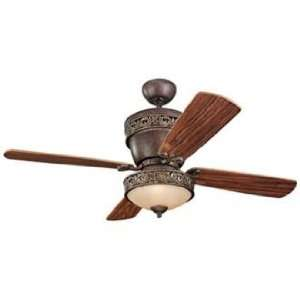 Carlo Villager Walnut Ceiling Fan with Light Kit