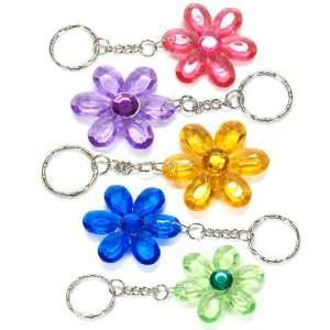 Jeweled Flower Key Chains (1 dz) [Toy]