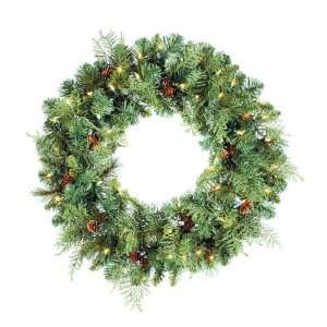 Pine Artificial Christmas Wreath 50 Clear Lights