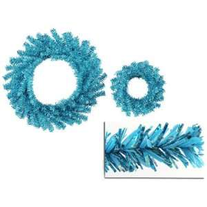 Blue Tinsel Artificial Christmas Wreaths   10 & 18