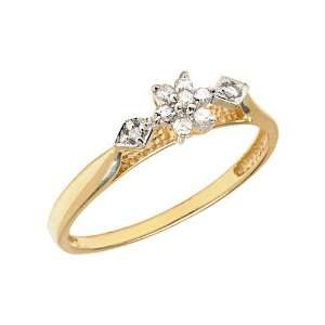 10K Yellow Gold Diamond Cluster Ring (Size 4.5) Jewelry