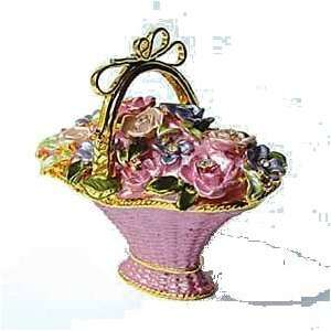 Basket Box Swarovski Crystals 24K Gold Trinket, Pill Box Jewelry