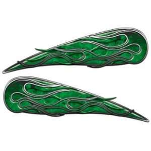 Inferno Green Motorcycle Gas Tank Flame Decals   4 h x 13
