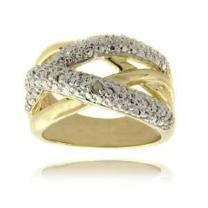 14k Gold Overlay Diamond Accent Criss Cross Ring  8 Jewelry