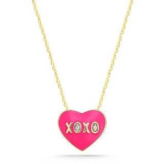 Sterling Silver Pink Enamel Heart XOXO with Diamond Accent Pendant