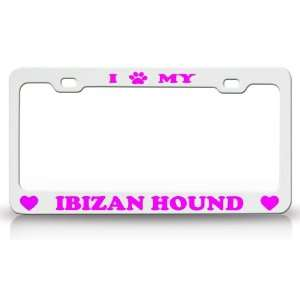 Animal High Quality STEEL /METAL Auto License Plate Frame, White/Pink