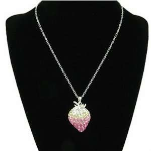 Strawberry Pink Crystal Pendant Necklace Arts, Crafts & Sewing