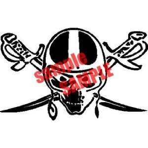 SKULL SWORD NFL TEAM WHITE VINYL DECAL STICKER
