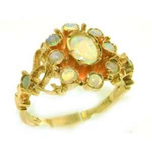 Unusual Solid Yellow Gold Natural Opal Ring with English