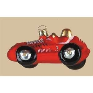 Red Racing Car Christmas Tree Glass Ornament