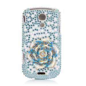 Case 3D Blue Flower Pearl Bling Rhinestone Crystal Full Cover Case