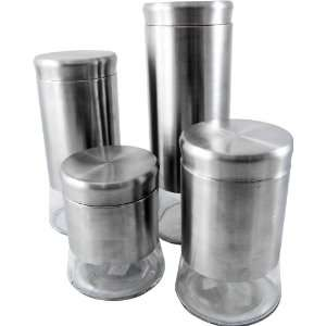 Imperial Home MW1237 Stainless Steel Glass Bottom 4 Pieces Canister