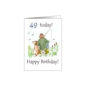 49th Birthday Card with a Man Fishing Card Toys & Games