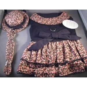 Black & Pink Roses Harness Dog Dress Set Size MEDIUM