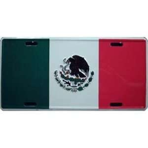 Mexico Mexican Country Flag Embossed Metal License Plate