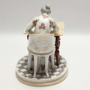 Antique Royal Vienna Porcelain Figurine Victorian Woman at Writing