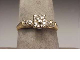 Vintage 14K Two Tone Gold Diamond Engagement Ring