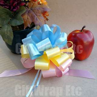 YELLOW RIBBON PULL BOWS GIFT BASKET SHOWER BIRTHDAY DECORATION