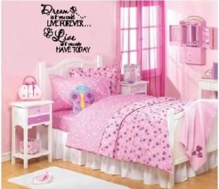 Dream Live Girls Teen Room Wall Words Stickers Decal