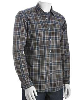 Etro grey and blue plaid cotton button down shirt